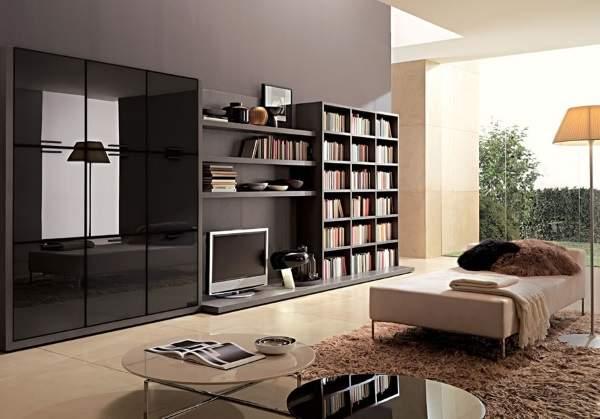 черная стенка в гостиную в современном стиле, фото 23