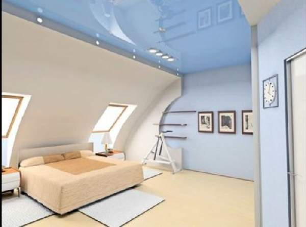 глянцевый натяжной потолок в спальне, фото 5