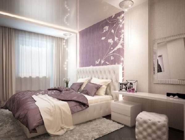 глянцевый натяжной потолок в спальне, фото 6