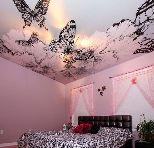 матовый натяжной потолок в спальне, фото 9