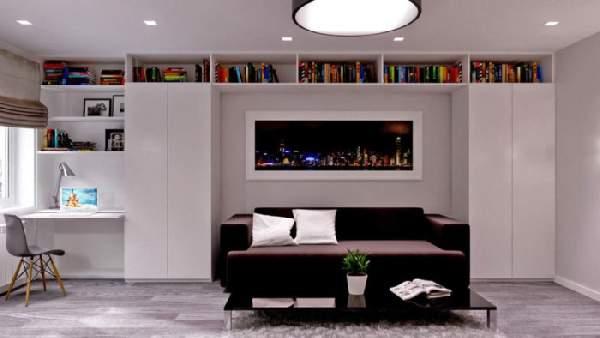 рабочая зона в гостиной, фото 29