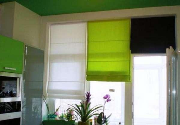 римские шторы на кухню с зеленым, фото 4