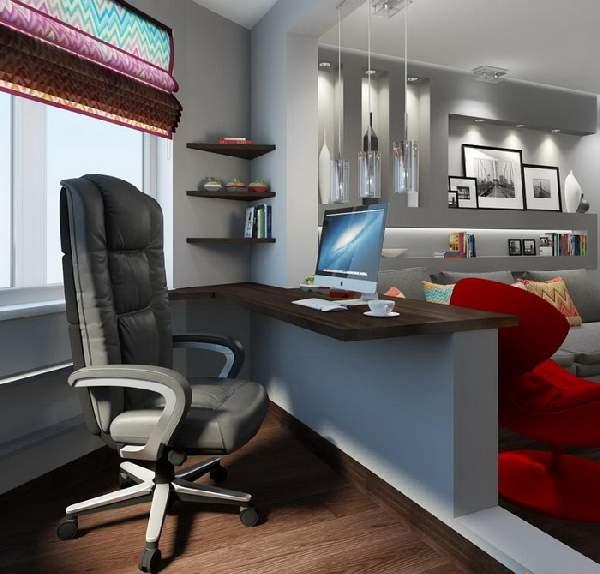 рабочая зона в гостиной, фото 17