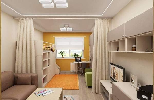 зонирование комнаты на гостиную и детскую шторами, фото 34