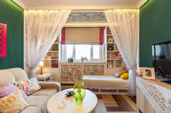 зонирование комнаты на гостиную и детскую шторами, фото 35