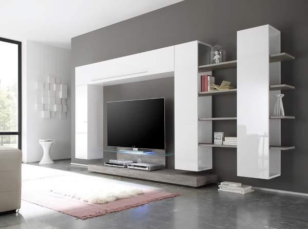 белая стенка в гостиную в современном стиле, фото 1