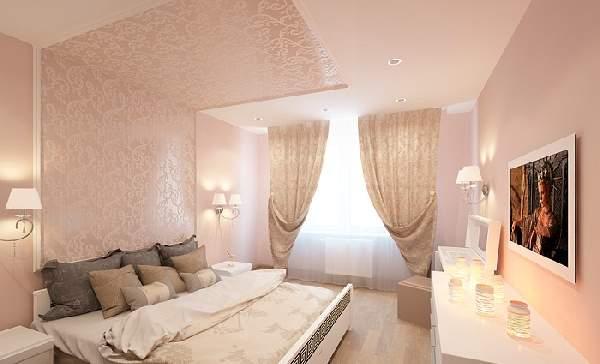 натяжной потолок в спальне, фото 15