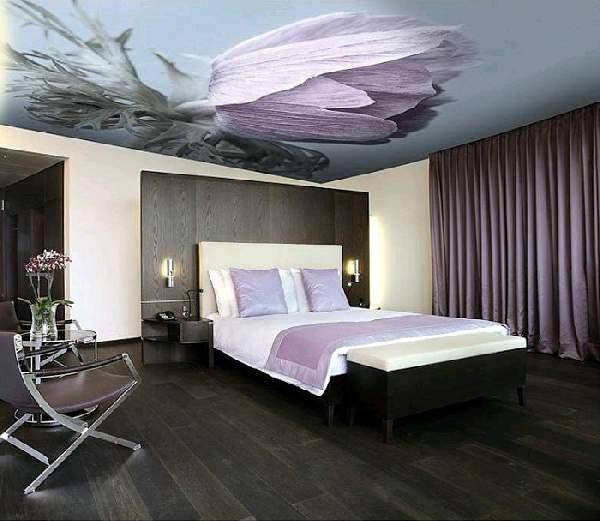 одноуровневые натяжные потолки спальня, фото 19