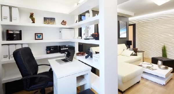 зонирование рабочего места в гостиной, фото 45