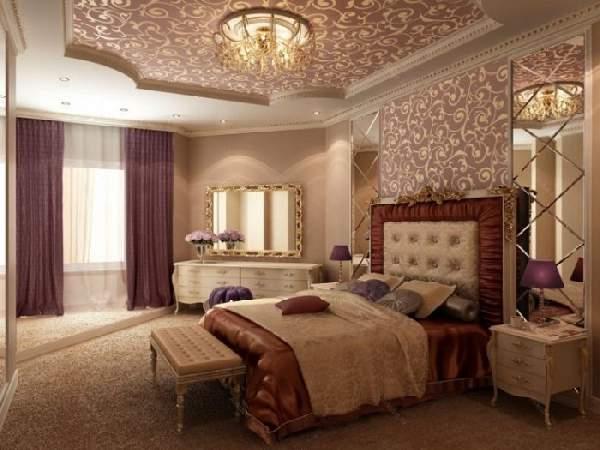 интерьер натяжных потолков в спальне, фото 37