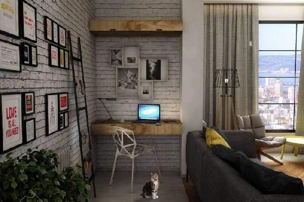,гостиная с рабочим столом фото 90