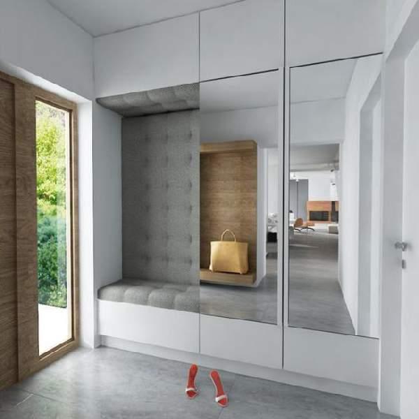 прихожая в узкий коридор со шкафом купе, фото 16