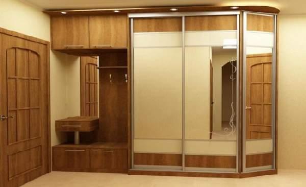 прихожие в коридор со шкафом и зеркалом, фото 4