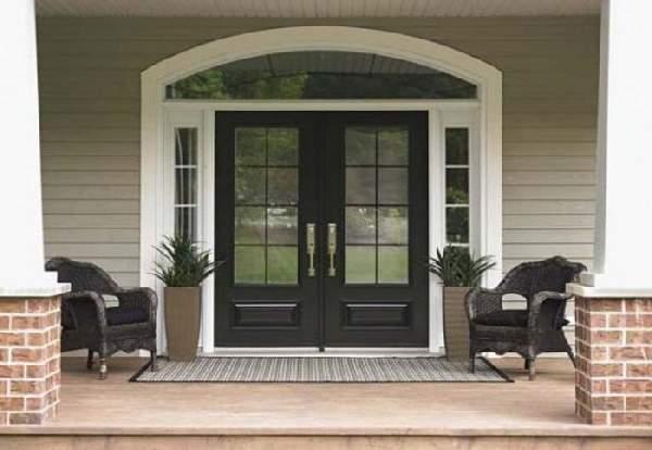 двери входные деревянные двухстворчатые, фото 26
