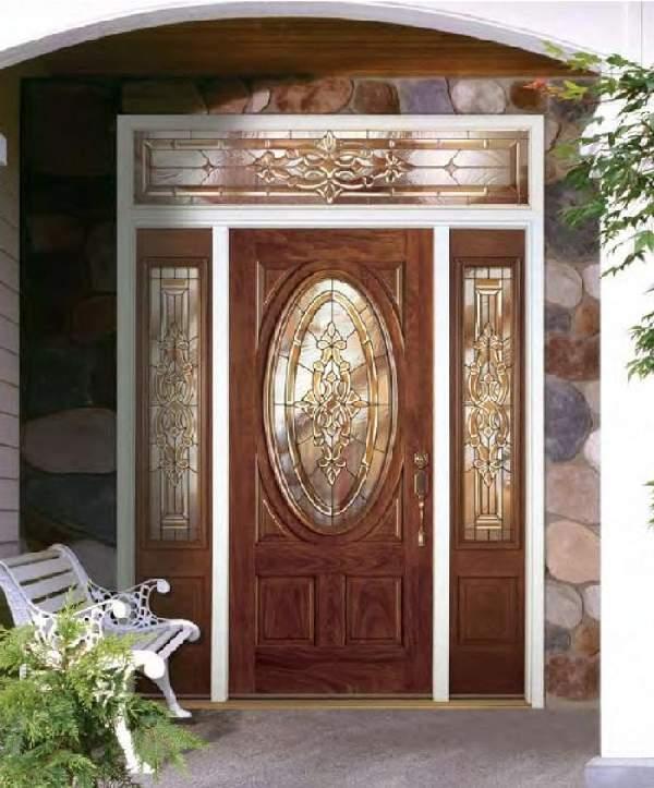 входные деревянные двери с зеркалом, фото 39