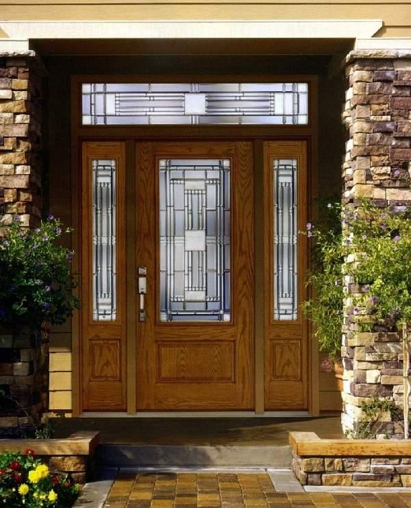 деревянные входные двери со стеклопакетом, фото 17