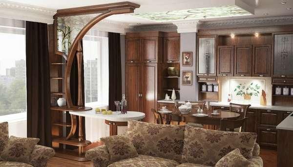 дизайн гостиной совмещенной с кухней, фото 45