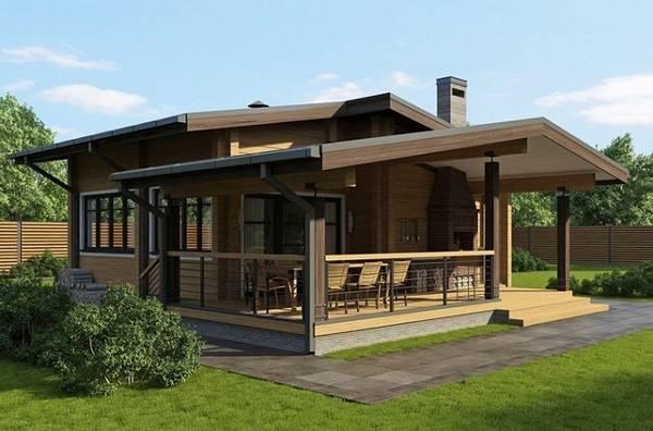 красивые одноэтажные дома с террасой, фото 93