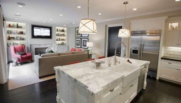современный дизайн кухни гостиной, фото 9