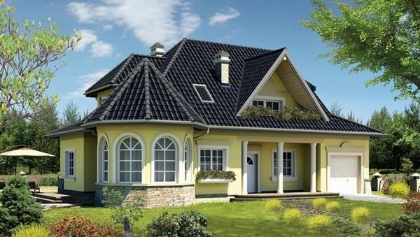 проекты красивых одноэтажных домов с эркером, фото 66