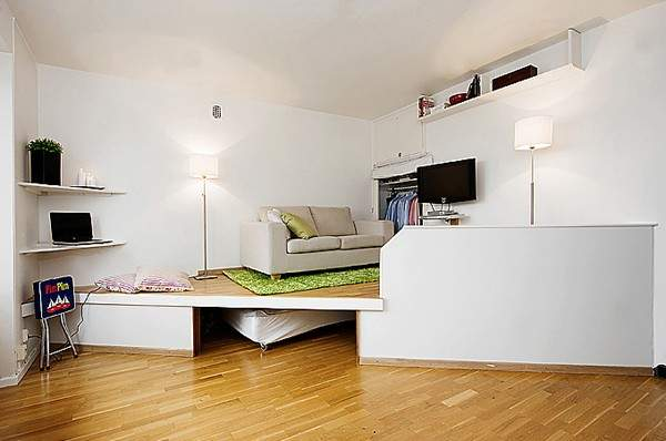 дизайн интерьера малогабаритной однокомнатной квартиры, фото 26