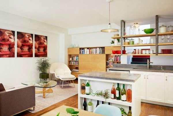 современный дизайн кухни гостиной, фото 12