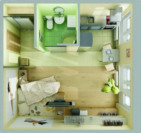 дизайн однокомнатной небольшой квартиры, фото 28