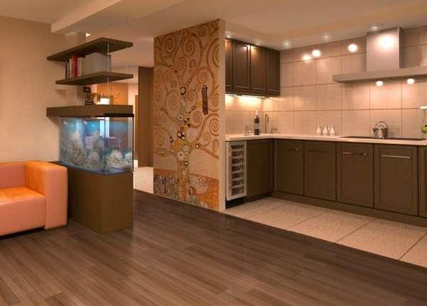 дизайн гостиной совмещенной с кухней, фото 13