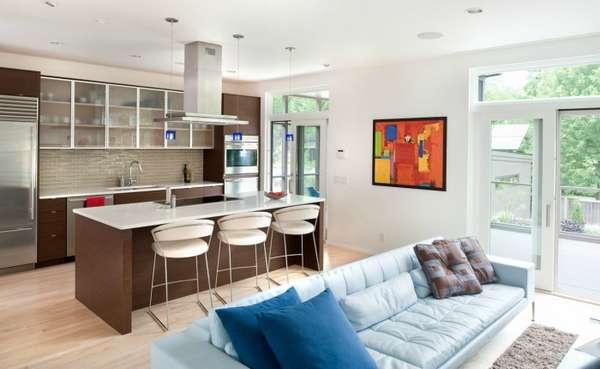 дизайн кухни гостиной с зонированием, фото 17