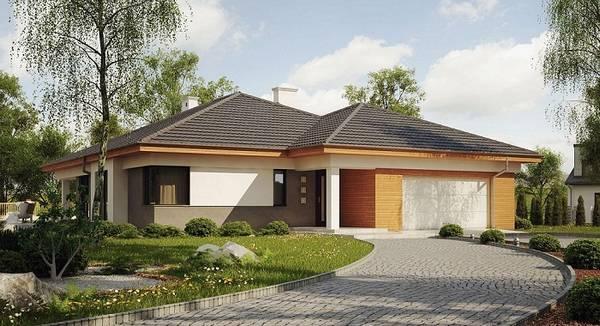 красивые одноэтажные дома с гаражом, фото 78