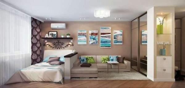 дизайн однокомнатной небольшой квартиры, фото 40