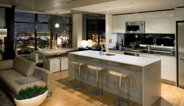 дизайн кухни совмещенной с гостиной в квартире, фото 25