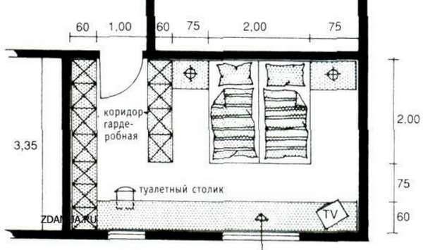 интерьер спальни с гардеробной, фото 17