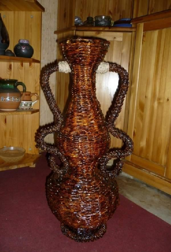 напольная ваза из газетных трубочек своими руками, фото 31