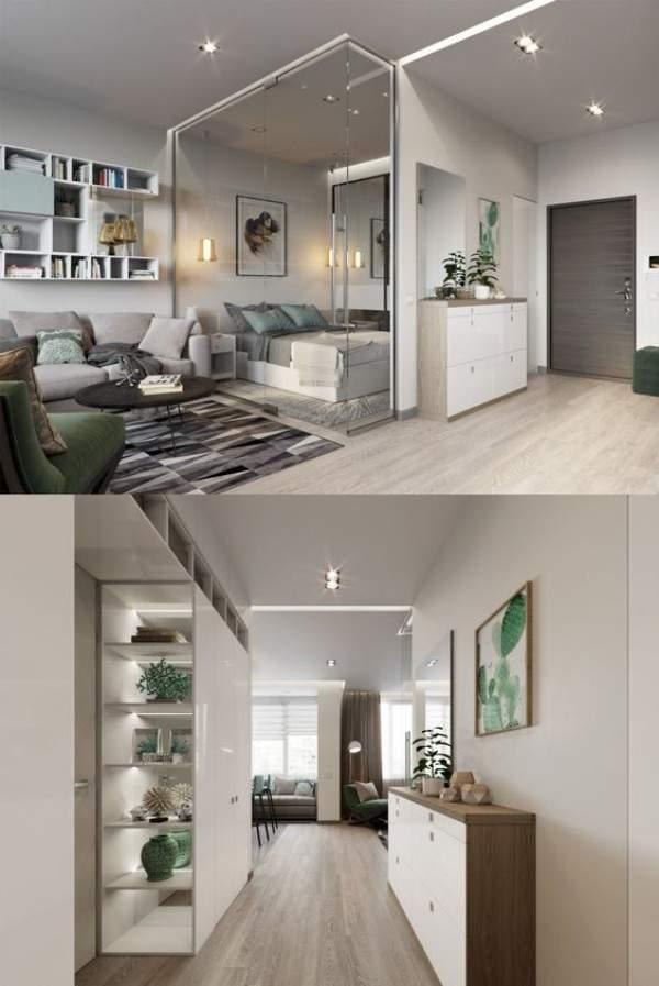 дизайн интерьера малогабаритной однокомнатной квартиры, фото 18