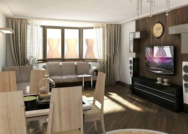 дизайн кухни гостиной с эркером, фото 29