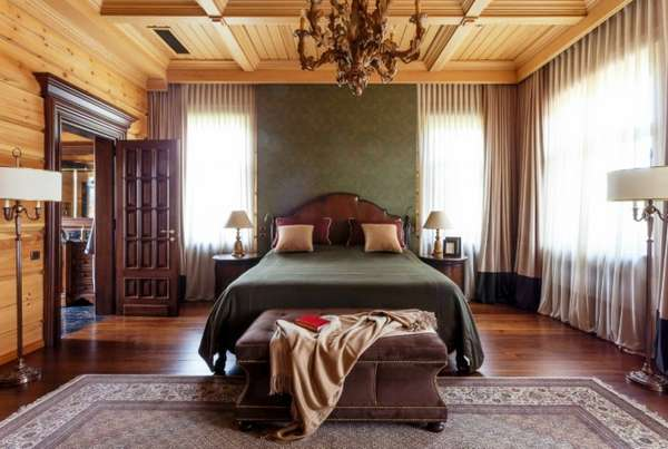 интерьер спальни с камином, фото 73