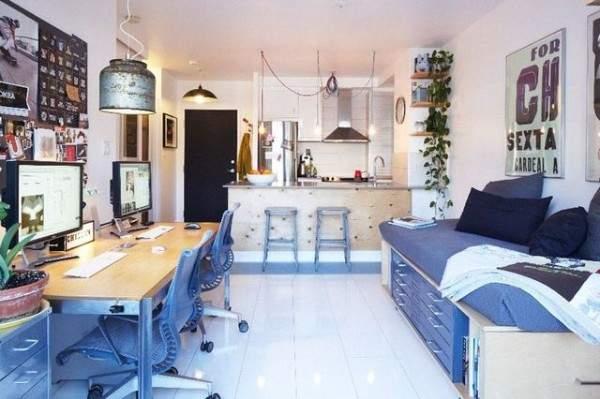 дизайн интерьера малогабаритной однокомнатной квартиры, фото 6