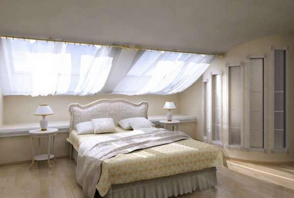 интерьер спальни в мансарде, фото 41