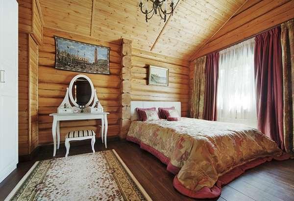 интерьер спальни в деревянном доме, фото 38