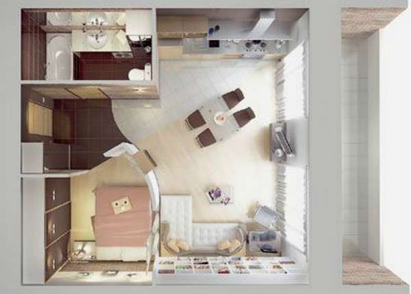 дизайн кухни совмещенной с гостиной небольшой площади, фото 53