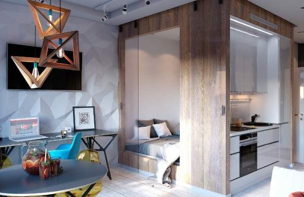 дизайн интерьера малогабаритной однокомнатной квартиры, фото 10