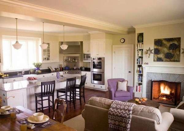дизайн кухни студии совмещенной с гостиной, фото 35