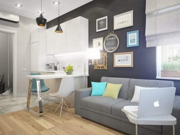 дизайн интерьера малогабаритной однокомнатной квартиры, фото 14