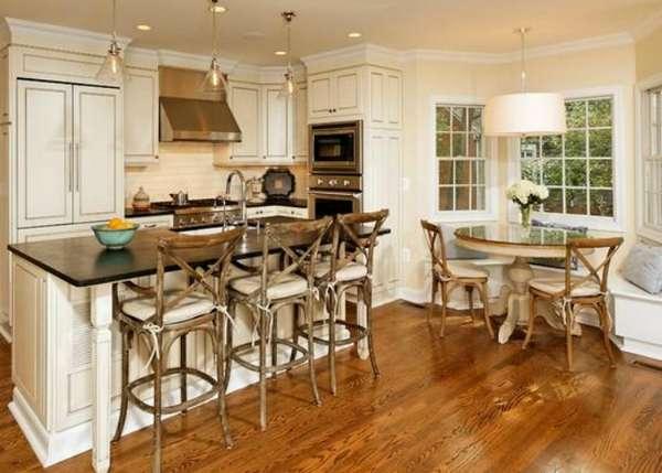 дизайн кухни гостиной в деревянном доме, фото 38