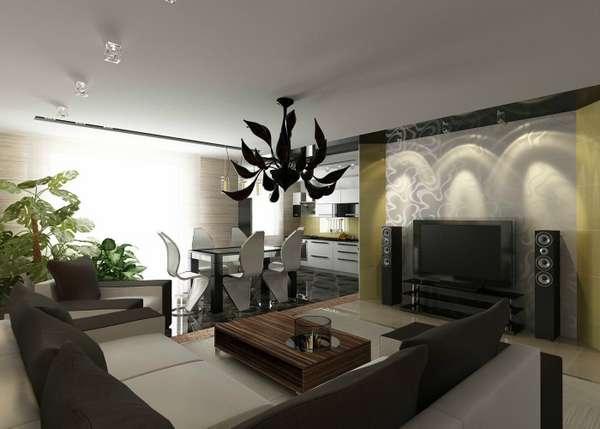 дизайн кухни гостиной малогабаритной, фото 43