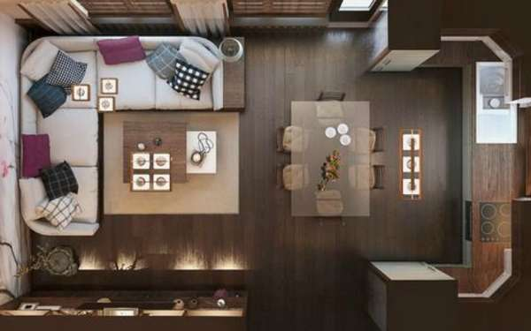 современный дизайн кухни гостиной, фото 56