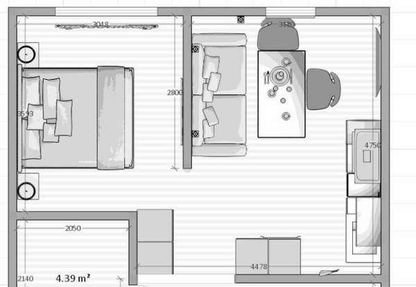 дизайн кухни совмещенной с гостиной небольшой площади, фото 58