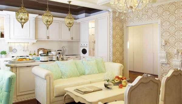 дизайн кухни гостиной, фото 46