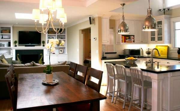дизайн кухни гостиной в деревянном доме, фото 47